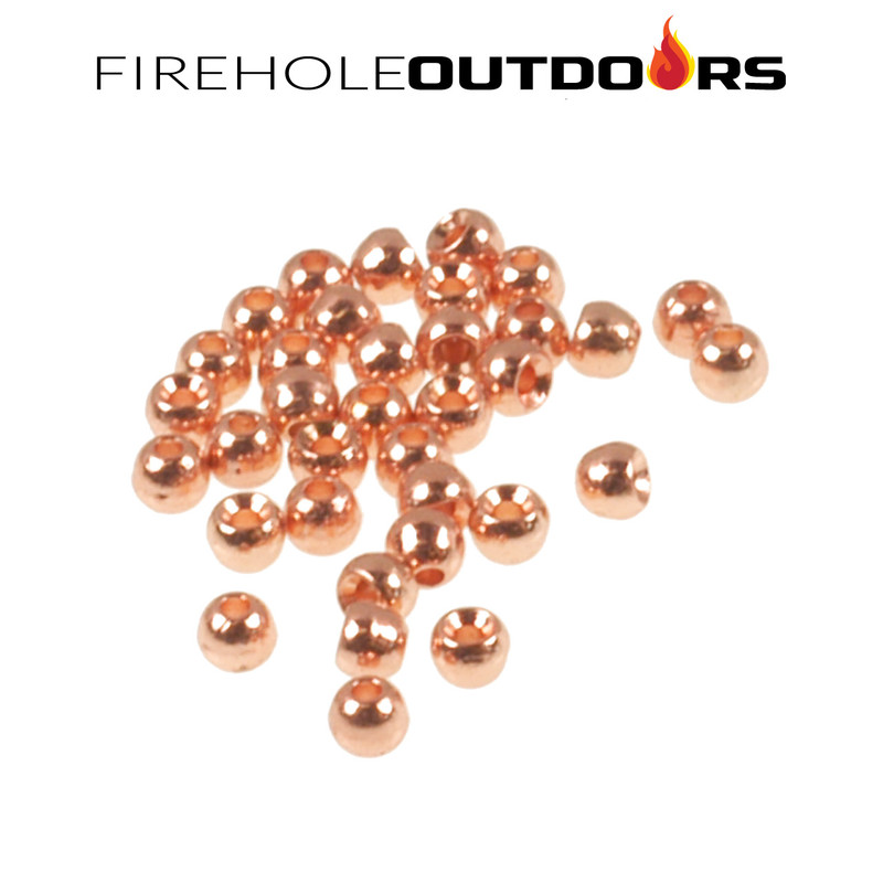 Close Up View of Firehole Stones Round Tungsten Beads in the color Copper