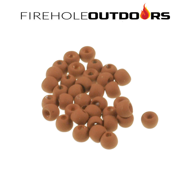 Close Up View of Firehole Stones Round Tungsten Beads in the color Almond Joy