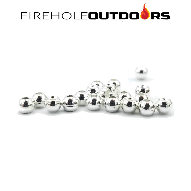 Close Up View of Firehole Stones Round Tungsten Beads Sterling Silver