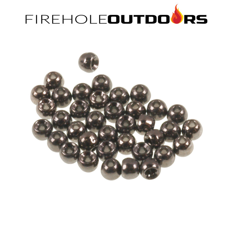 Close Up View of Firehole Stones Round Tungsten Beads in the color Black Nickel