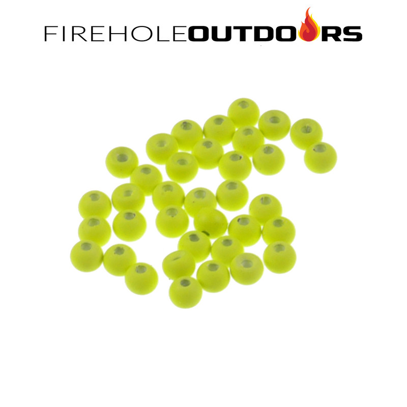 Close Up View of Firehole Stones Round Tungsten Beads in the color Chartreuse