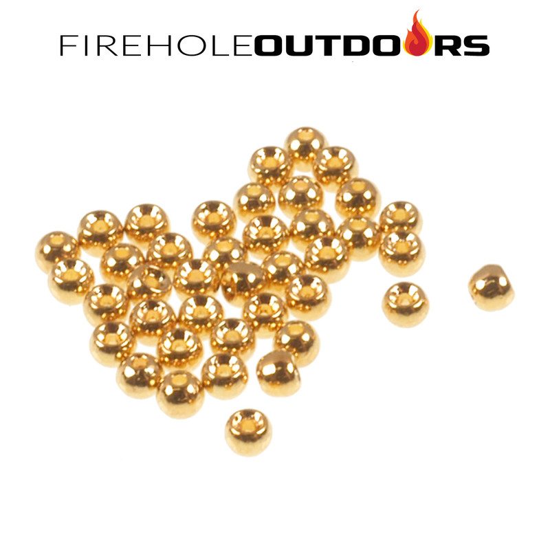 Close Up View of Firehole Stones Round Tungsten Beads, 36-Pack in the plated color Gold
