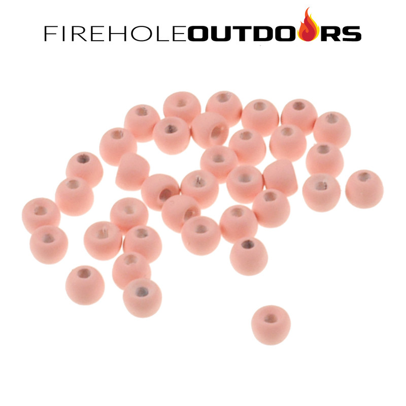 Close Up View of Firehole Stones Round Tungsten Beads in the color Pink Floyd