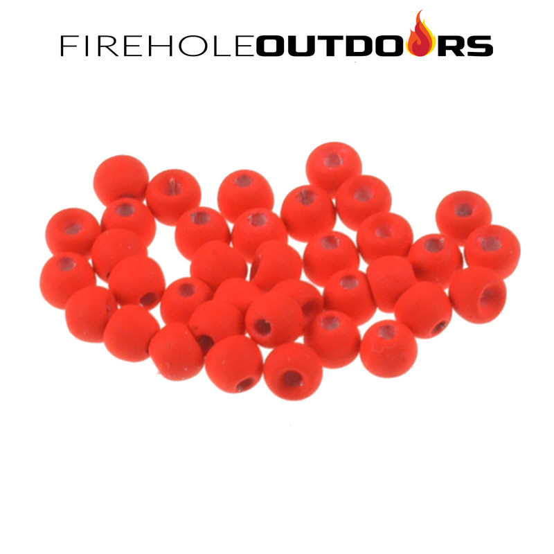 Close Up View of Firehole Stones Round Tungsten Beads in the color Screaming Red