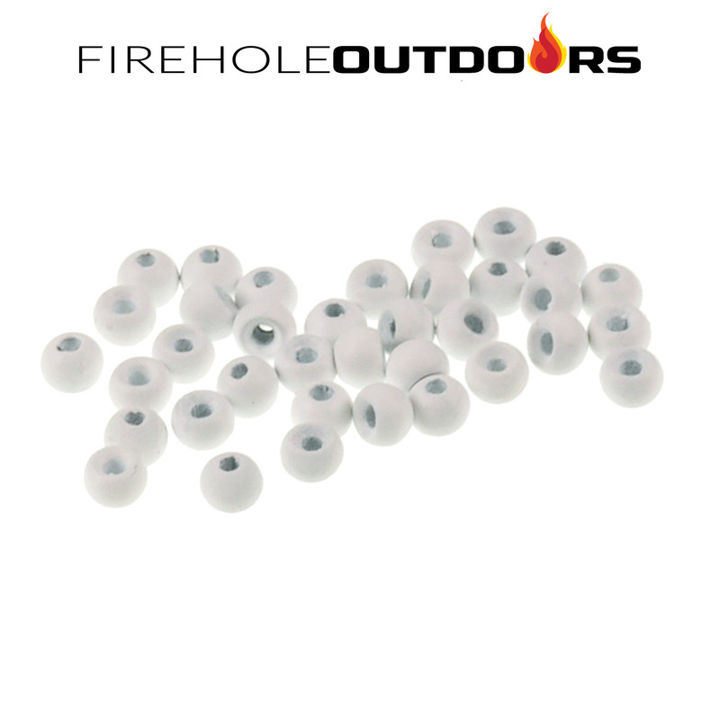 Close Up View of Firehole Stones Round Tungsten Beads in the painted color White