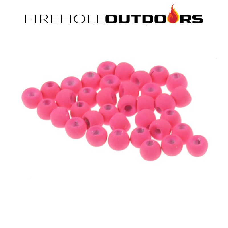 Close Up View of Firehole Stone Round Tungsten Beads in the color Pink Panther