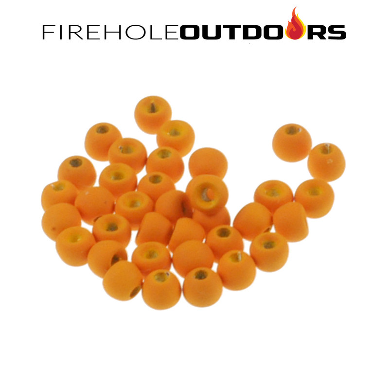 Close Up View of Firehole Stones Round Tungsten Beads in the color Autumn