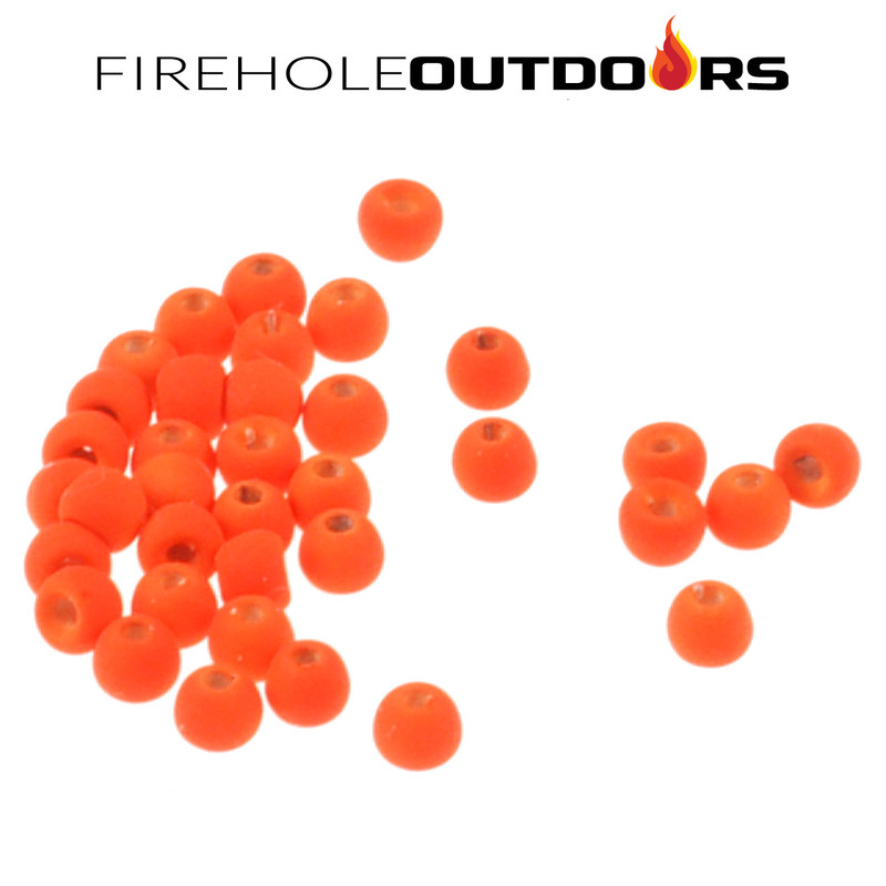 Close Up View of Firehole Stones Round Tungsten Beads in the color Fire Orange