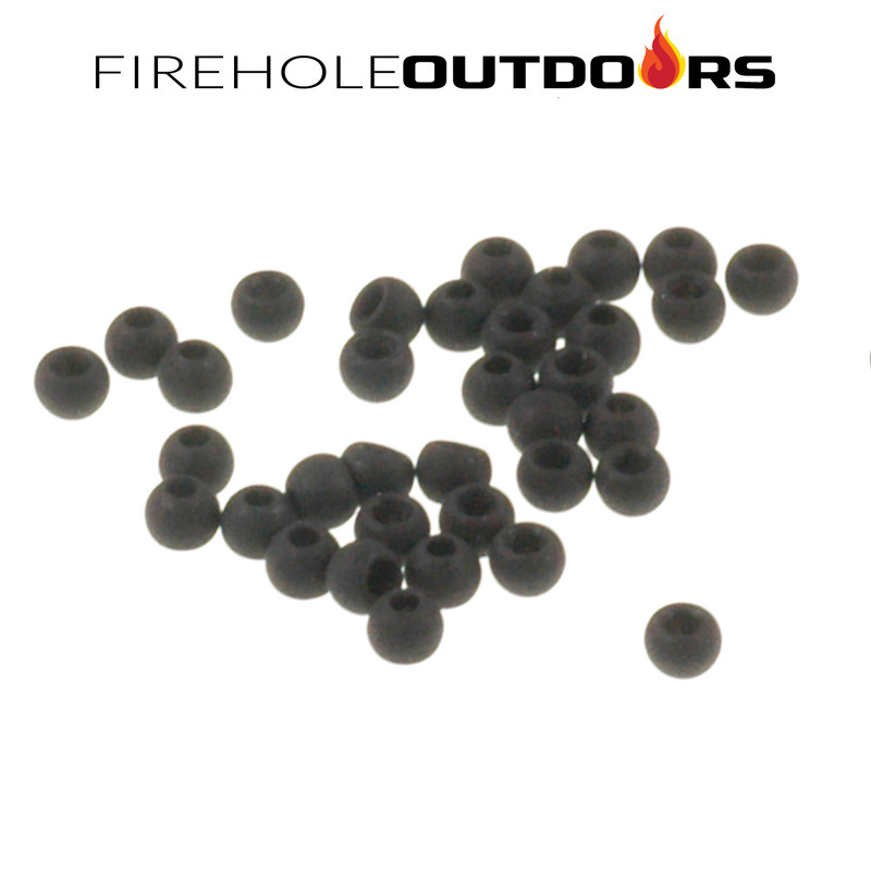 Close Up View of Firehole Stones Round Tungsten Beads in the color Matte Black