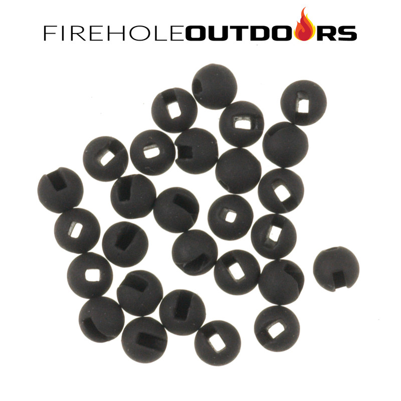 Close Up View of Firehole Stones Slotted Tungsten Matte Black Beads