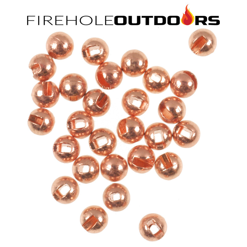 Close Up View of Firehole Stones Slotted Tungsten Copper Beads