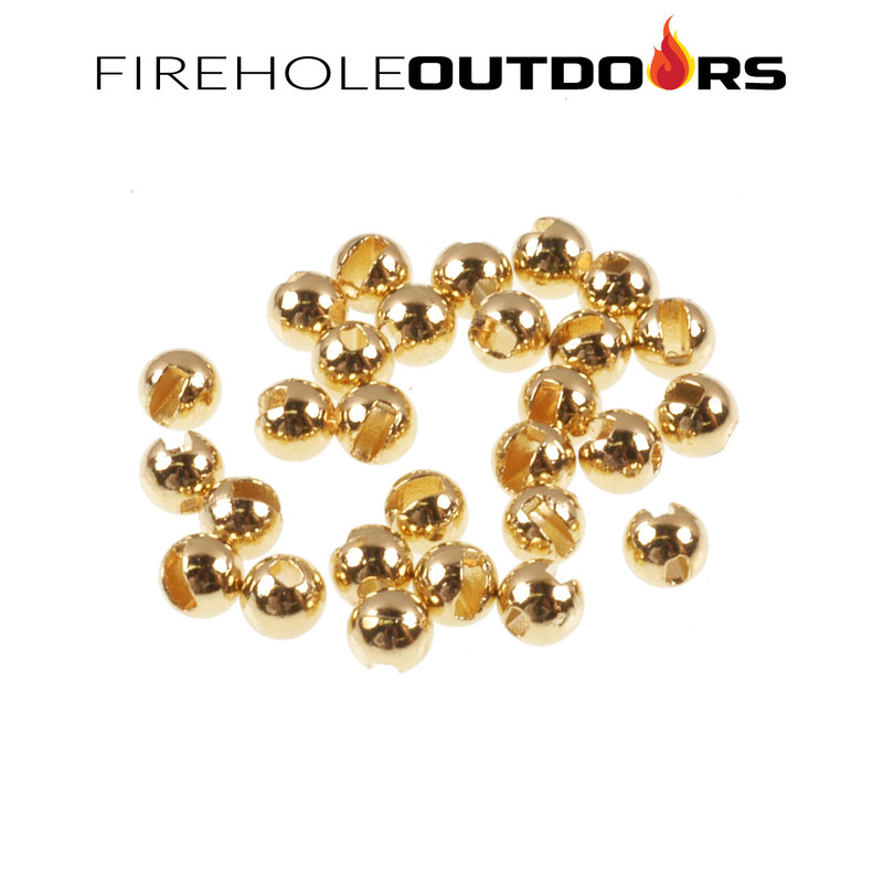 Close Up View of Firehole Stones Slotted Tungsten Gold Beads