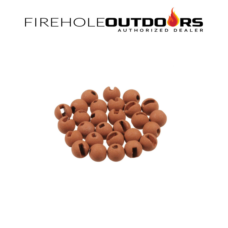 An un-packaged group of Firehole Stones Slotted Tungsten Beads in the color Almond Joy
