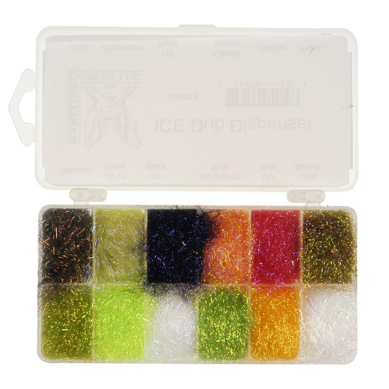 Hareline Ice Dub Dubbing Dispenser of 12 Colors Shown Open