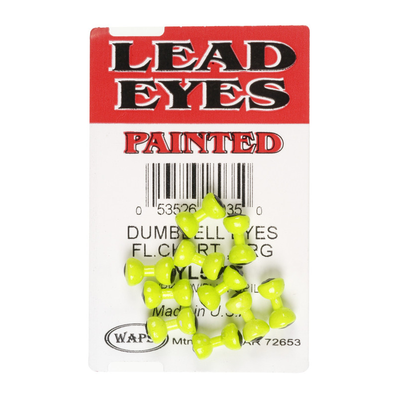 A 10 Pack of  Wapsi Painted Chartreuse Lead Dumbell Eyes