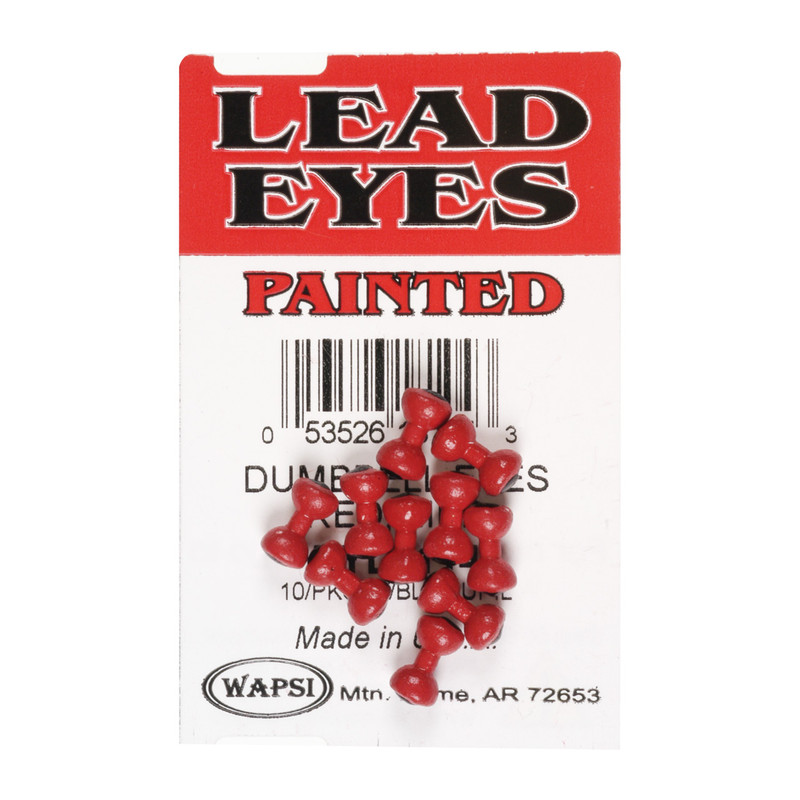 A 10 Pack of Wapsi Red Lead Dumbell Eyes