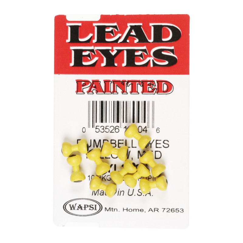 A 10 Pack of Wapsi Yellow Painted Lead Dumbell Eyes
