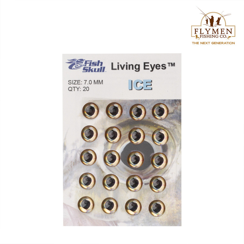 A 20-Pack of Flymen Fish Skull Living Eyes in the Color Ice and Size 7.0 mm