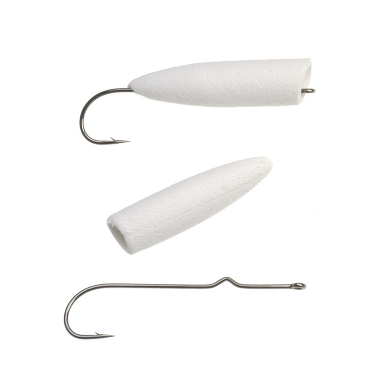 Pencil Popper Bodies with Hooks White #1 10-Pack With and Without Hook Inserted