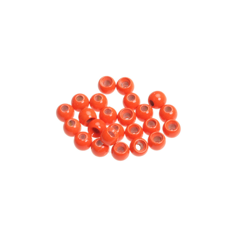 Close Up View of 24 Wapsi Fluorescent Fire Orange Painted Cyclops Beads