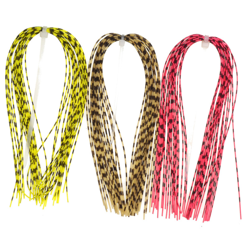 Three Hanks of Hareline Grizzly Barred Rubber Legs in Neon Red, FL Chartreuse and Natural.