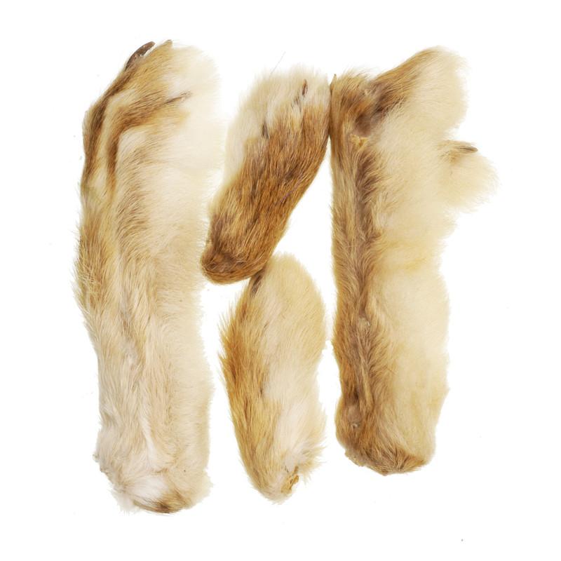 Four Snowshoe Rabbit Feet Natural Cream