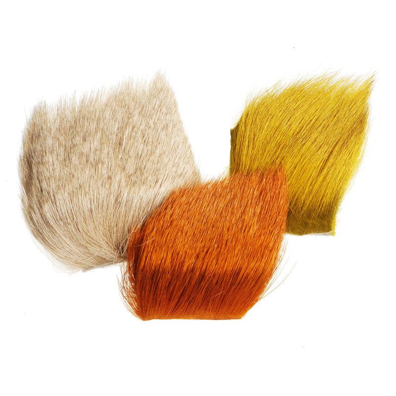 Elk Body Hair Shown in Orange, Yellow and Bleached