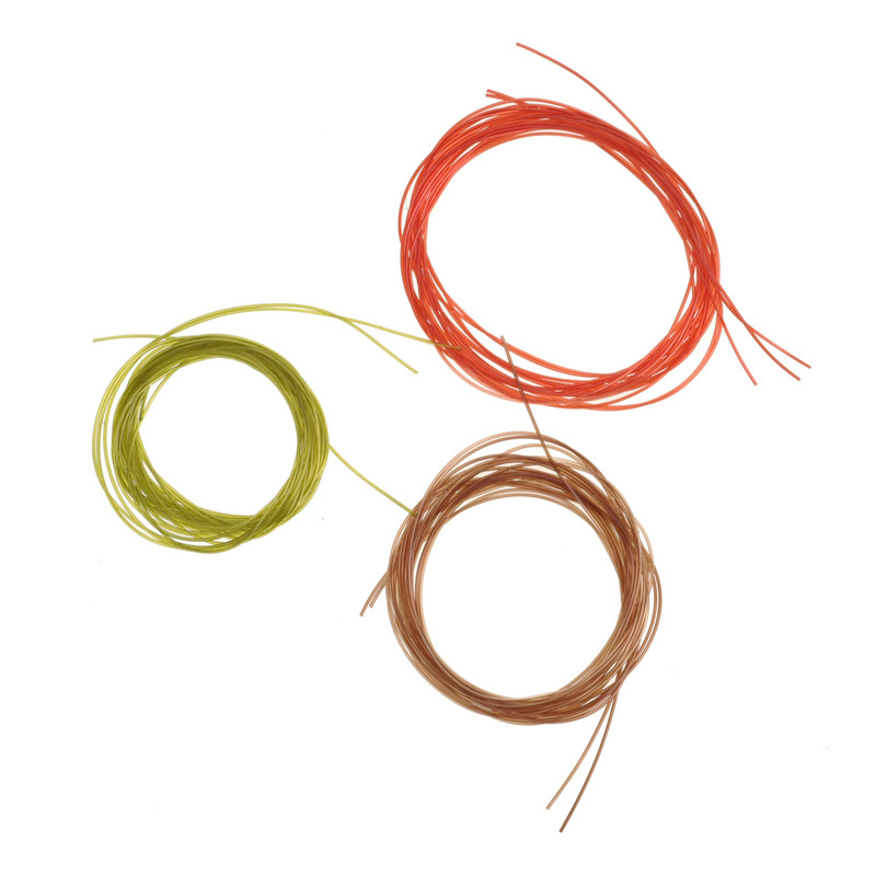 Three Coils of Wapsi Stretch Tubing Micro in Red, Brown and Olive