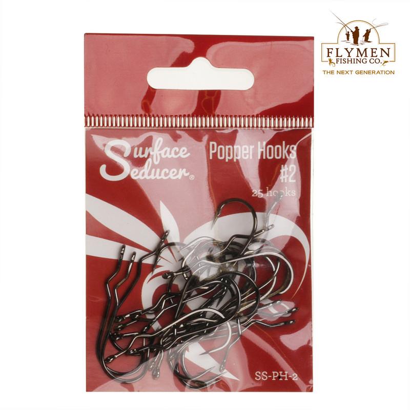 A 25-Pack of Flymen Surface Seducer Popper Hooks