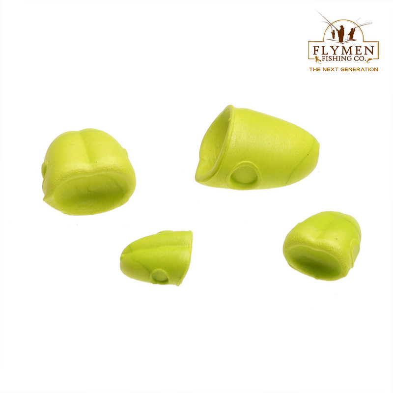 Three Sizes of Flymen Surface Seducer Double Barrel Popper Bodies in the Color Yellow Chartreuse