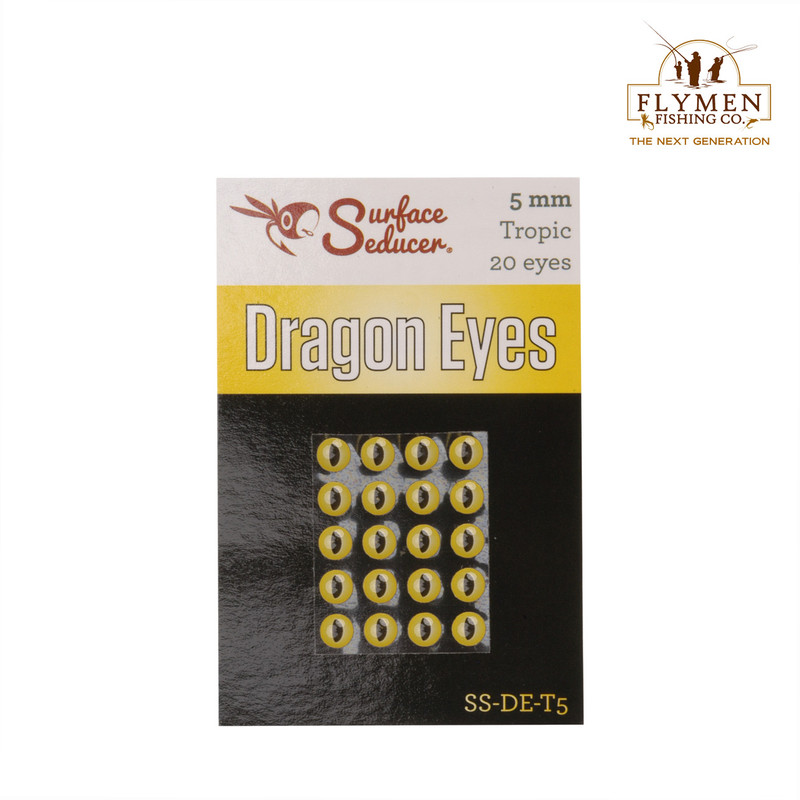A 20-Pack of Flymen Surface Seducer Dragon Eyes in the Color Tropic