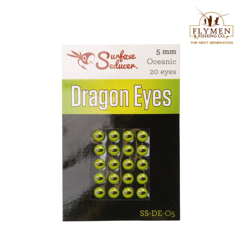 A 20-Pack of Flymen Surface Seducer Dragon Eyes in the Color Oceanic Green