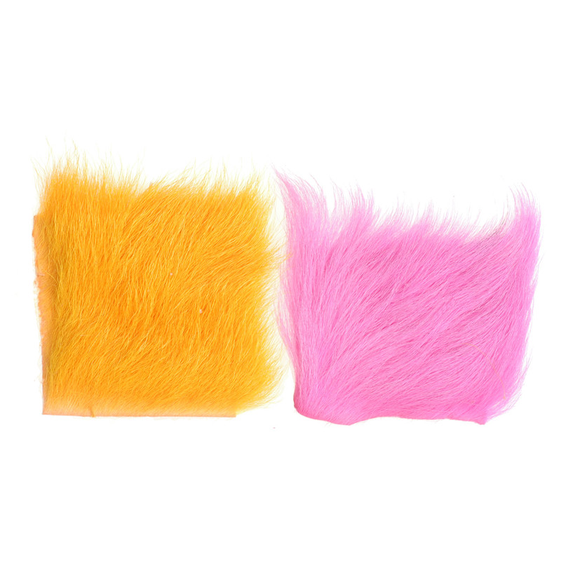 Two Patches of Wapsi Calf Body Hair in FL Orange and FL Pink