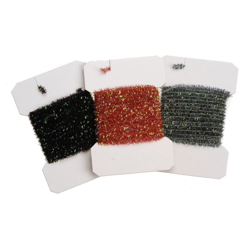 Three Cards of Tinsel Chenille Medium Dyed Over Pearl