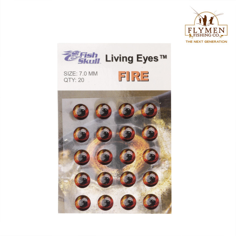 A 20-Pack of Flymen Fish Skull Living Eyes in the Color Fire