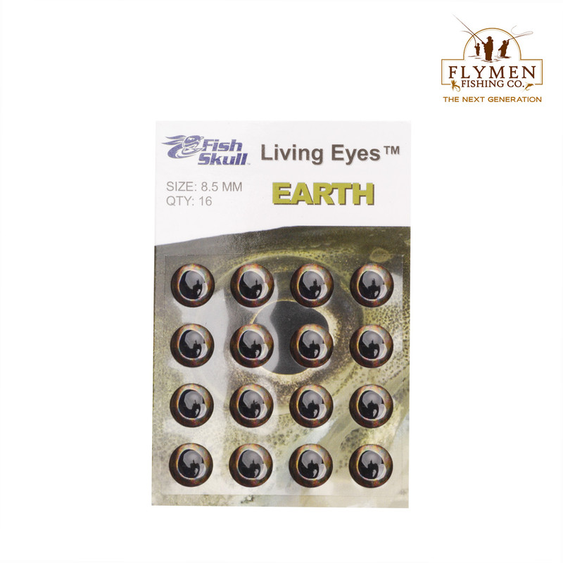 A 16-Pack of Flymen Fish Skull Living Eyes in the Color Earth and Size 8.5 mm