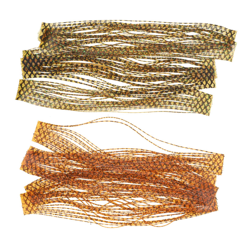 Ten Bands of Two Colors of Wapsi Sili Legs Barred in Olive/Green and Orange/Black