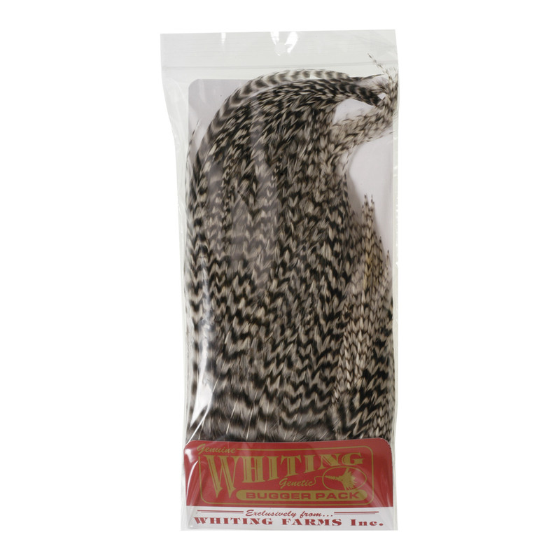 A Whiting Farms Wooly Bugger Pack in the Color Grizzly in the Package