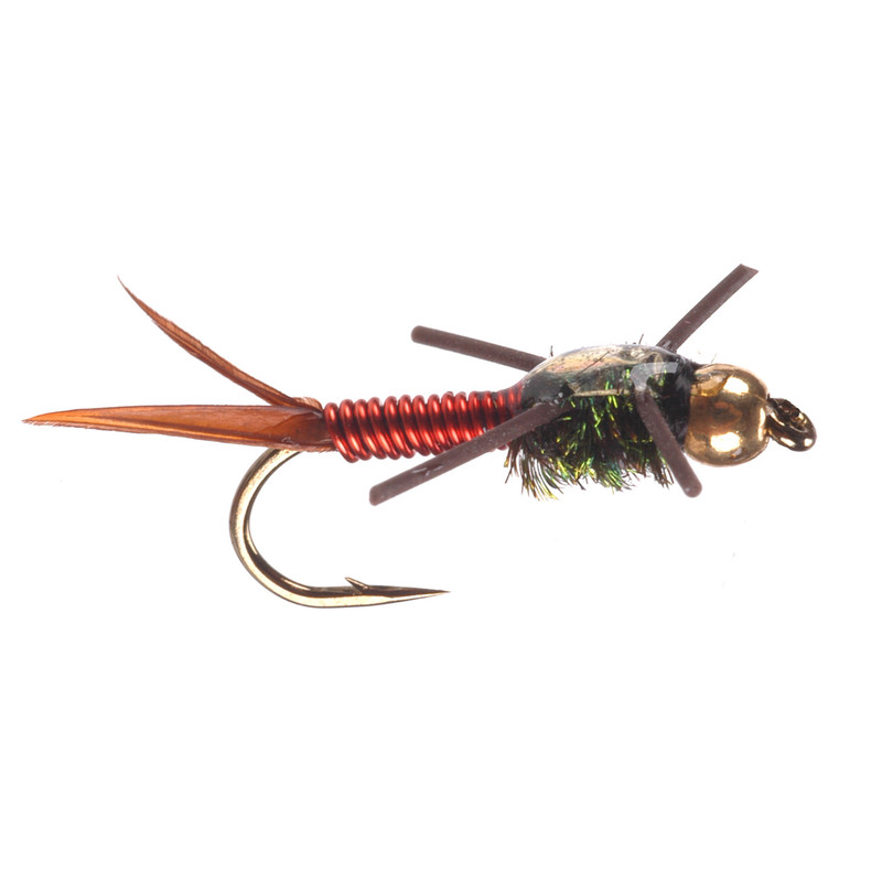 Bead Head Copper Rubber Leg Nymph Red