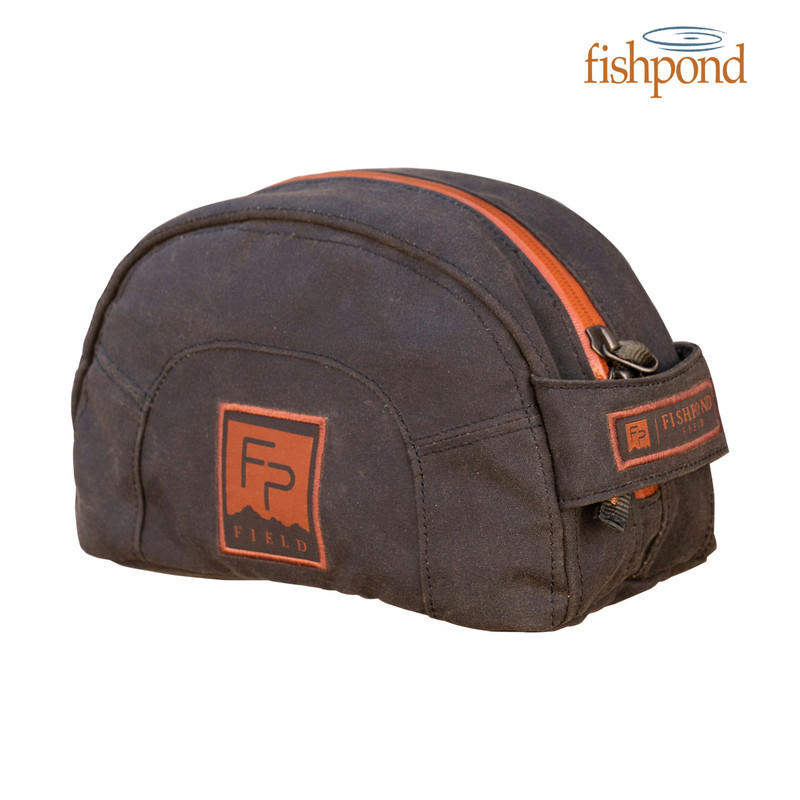 Fishpond Cabin Creek Toiletry Kit front and side view.