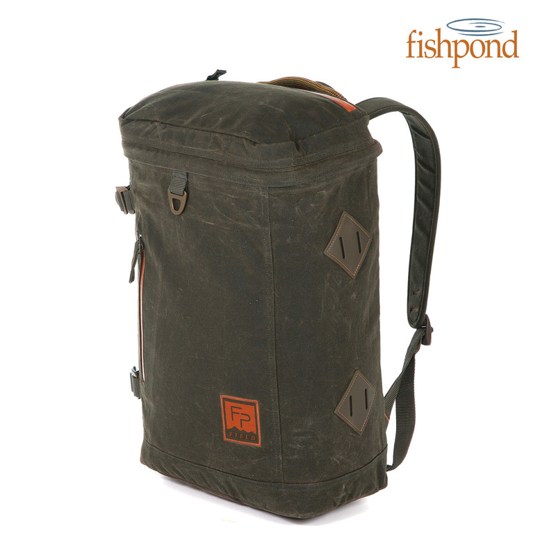 Fishpond River Bank Backpack front and side view.