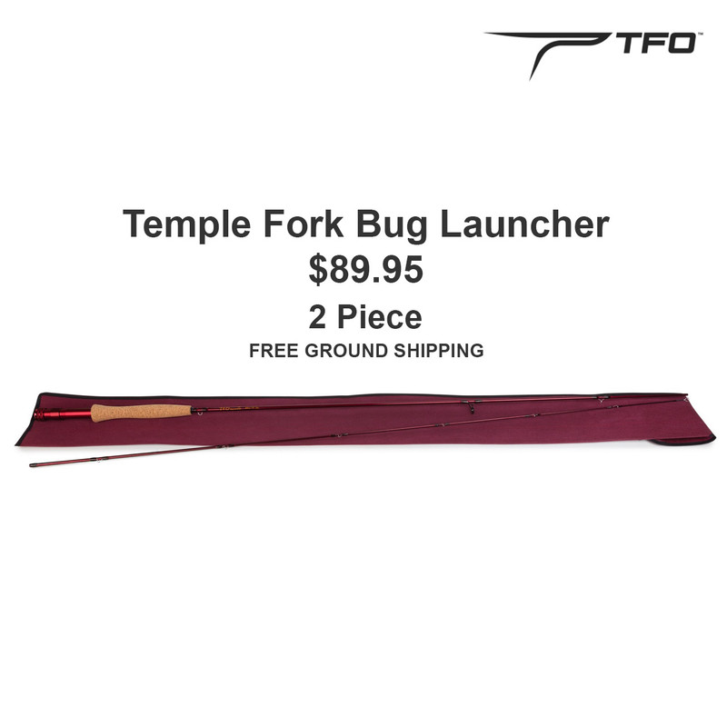 Temple Fork Bug Launcher Fly Rod, Sock, Price, TFO Logo and Free Ground Shipping