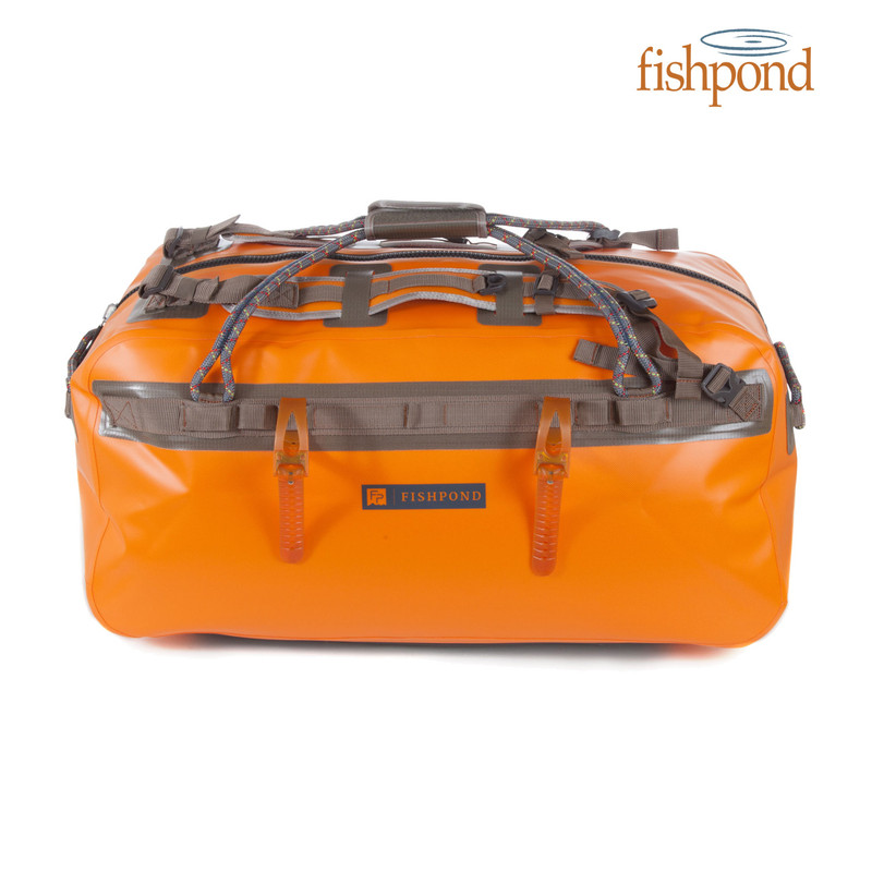 Fishpond Thunderhead Large Submersible Duffel front view shown in the color Cutthroat Orange.
