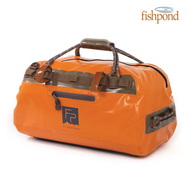 Fishpond Thunderhead Submersible Duffel in the Color Cutthroat Orange Front and Top View