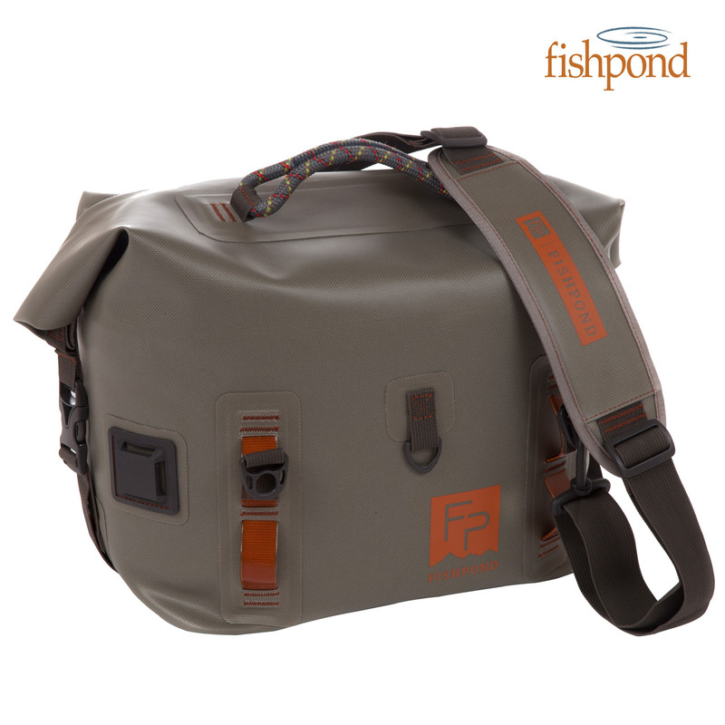 Fishpond Castaway Roll Top Gear Bag Front View with Shoulder Strap