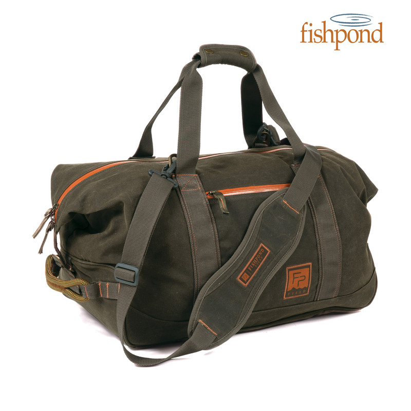 Fishpond Jagged Basin Duffel front and end view and Fishpond logo.
