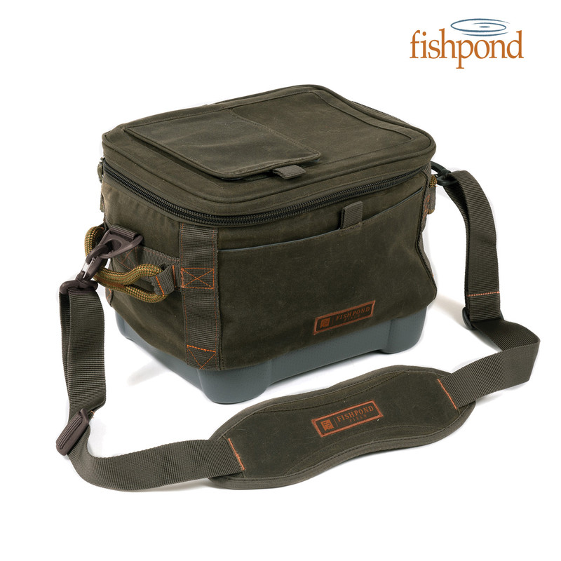 Fishpond Blizzard Soft Cooler front, top and side view with Fishpond logo.