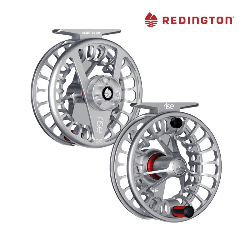 Redington Rise Large Arbor Fly Fishing Reels, Front and Back Views in the color Silver