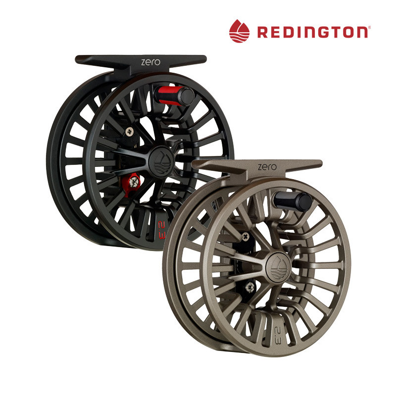 Redington Zero Fly Fishing Reels, Front View, Colors Black and Sand