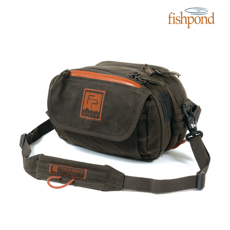 Blue River Chest Lumbar Pack Waxed Cotton in the color Peat Moss front, side and top view.